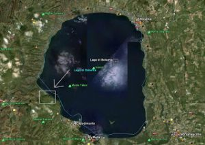 Vista satellitare del luogo rispetto al lago di Bolsena