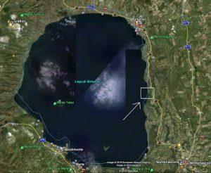 Vista satellitare del Gran Carro rispetto al lago di Bolsena